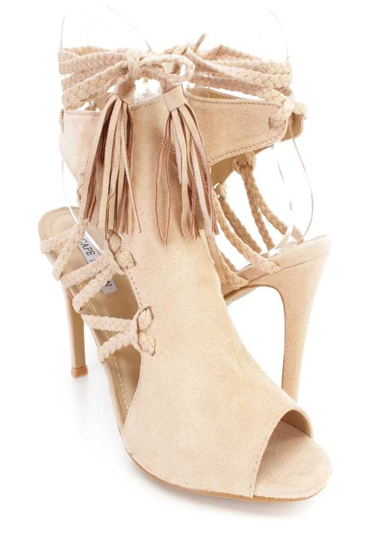 Nude Wrap Around Braided Strappy Single Sole High Heels Faux Suede