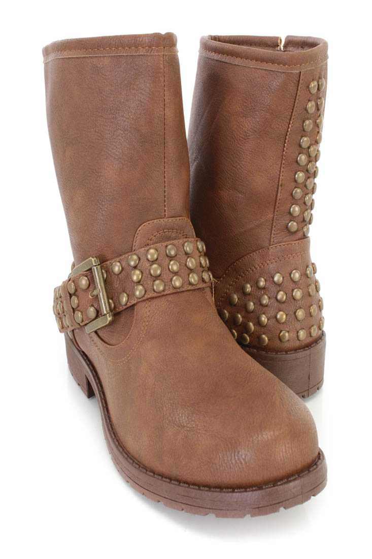 Brown Studded Buckle Strap Ankle Booties Faux Leather
