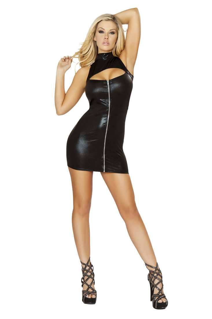 Black Zip Up Cut Out Mini Dress