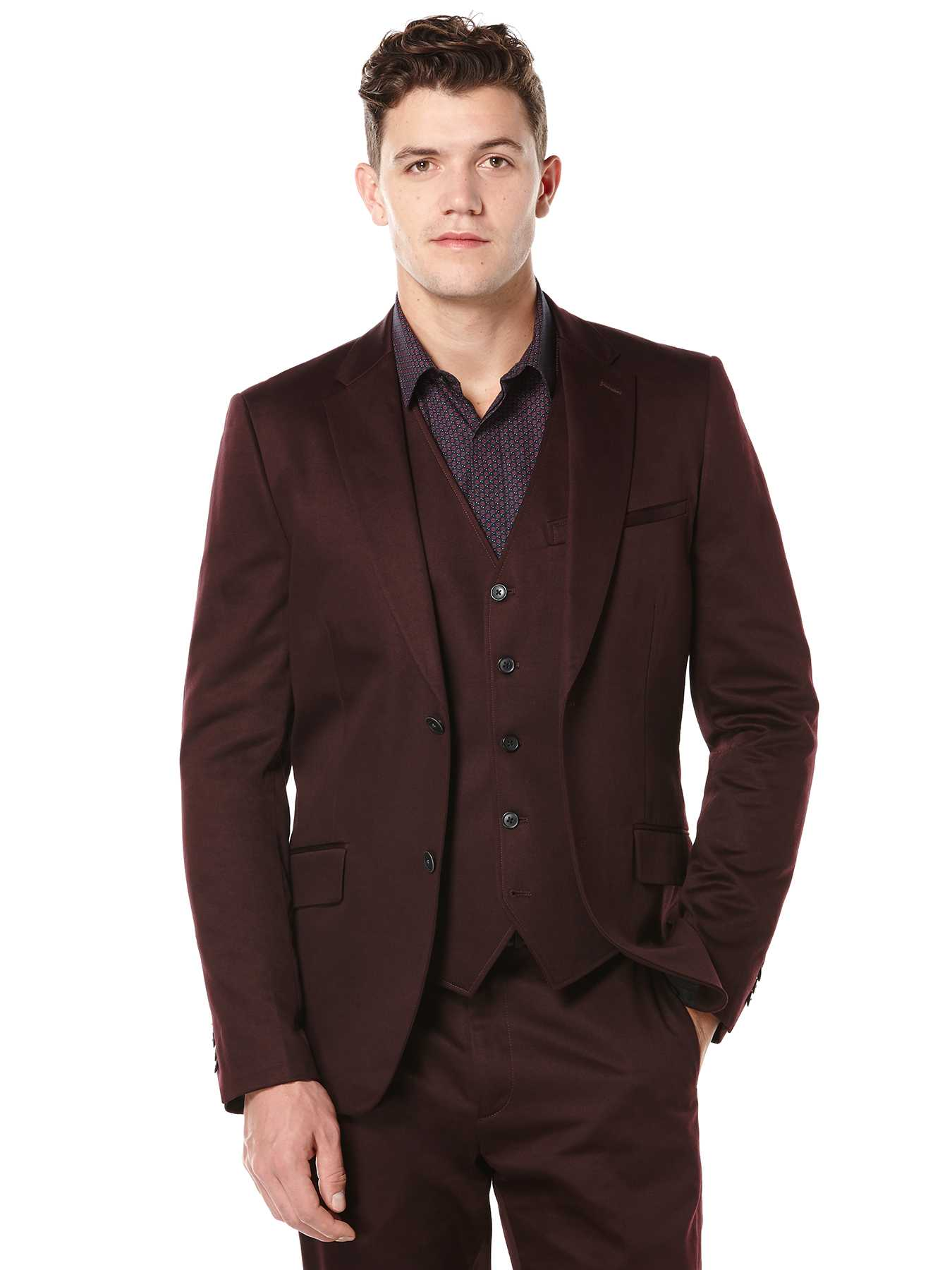 Perry Ellis Slim Fit Solid Satin Suit Jacket
