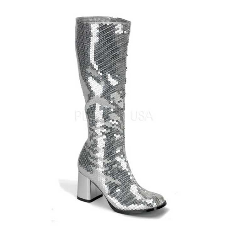 Silver Sequins Chunky Heel Knee High Boots