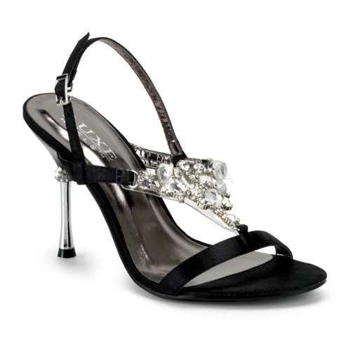 Black Rhinestone T-Strap Single Sole Heels Satin