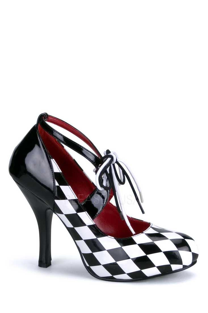 Black White Checker Print High Heels Patent