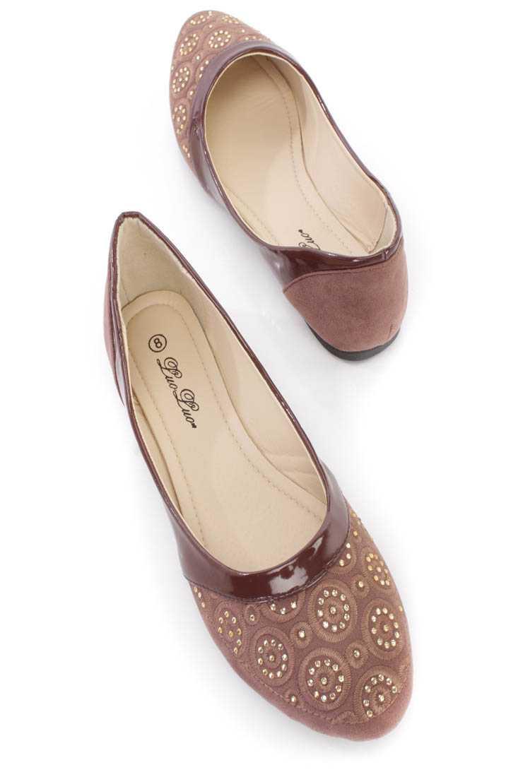 Brown Crochet Rhinestone Detailing Ballerina Flats
