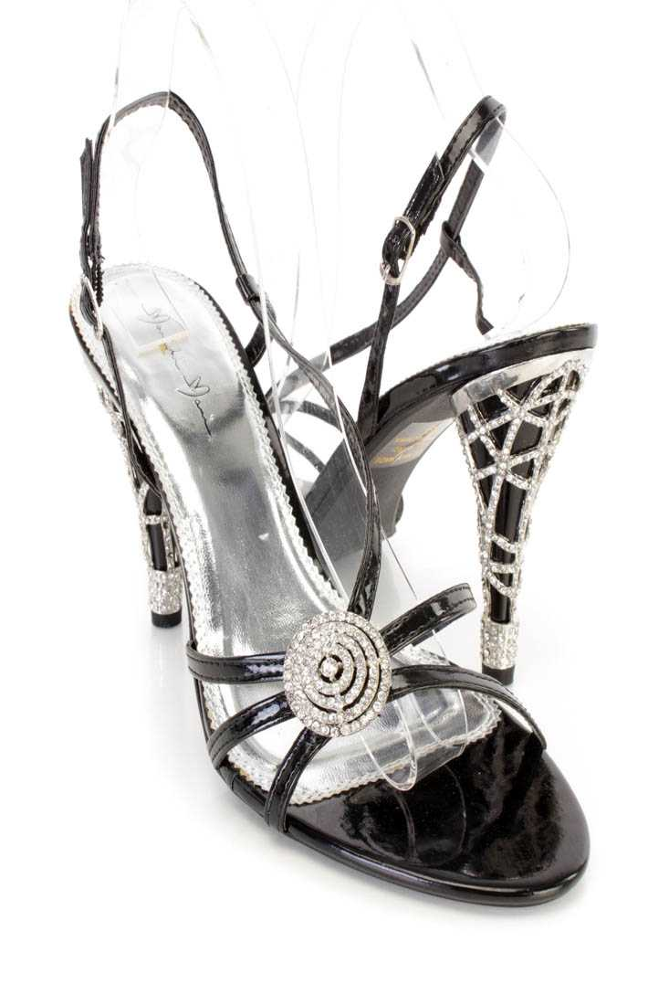 Black Rhinestone Strappy Single Sole Heels Patent