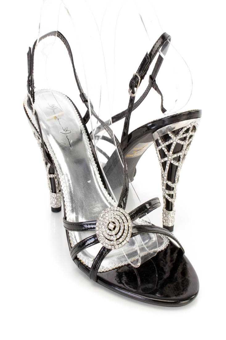 Black Rhinestone Strappy Single Sole Heels Patent