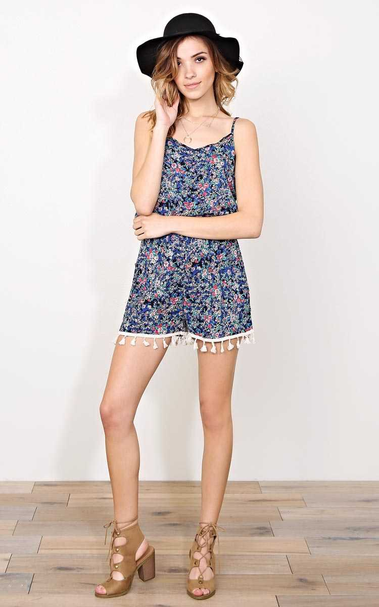 Brie Floral Woven Romper - - Green Comboi in Size by Styles For Less