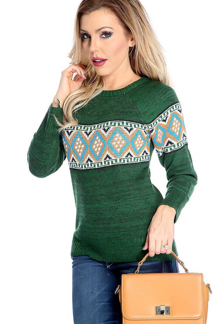 Stylish Green Long Sleeve Tribal Print Sweater Top