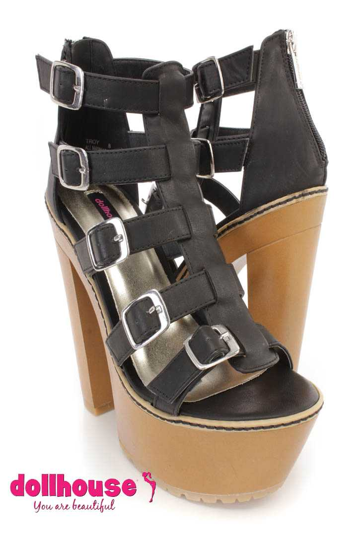 Black Buckle Strappy Chunky Heels Faux Leather