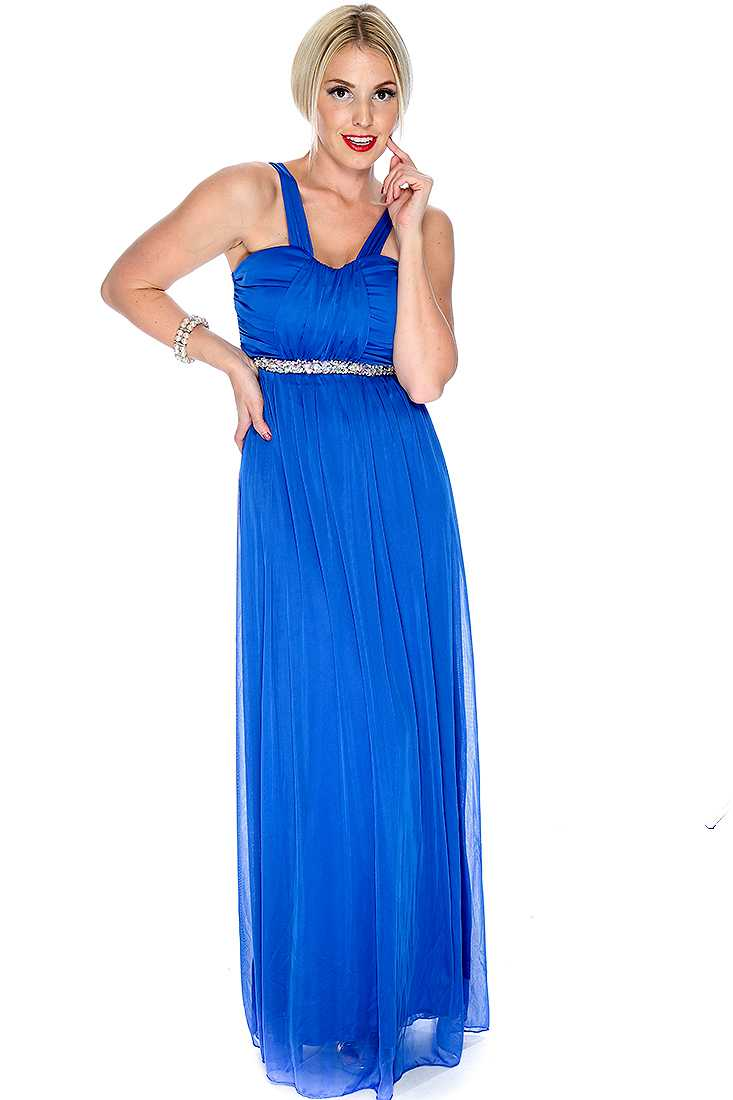 Sexy Royal Blue Faceted Beaded Maxi Dress