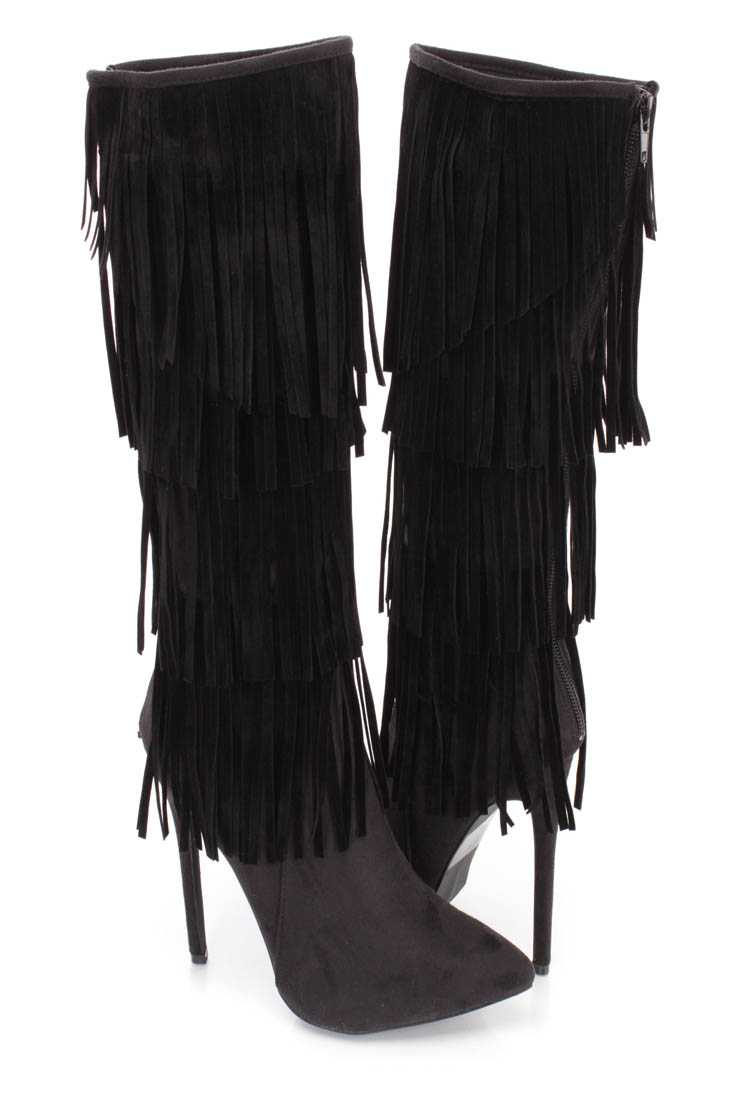 Black Fringe Tiered Heel Boots Faux Suede