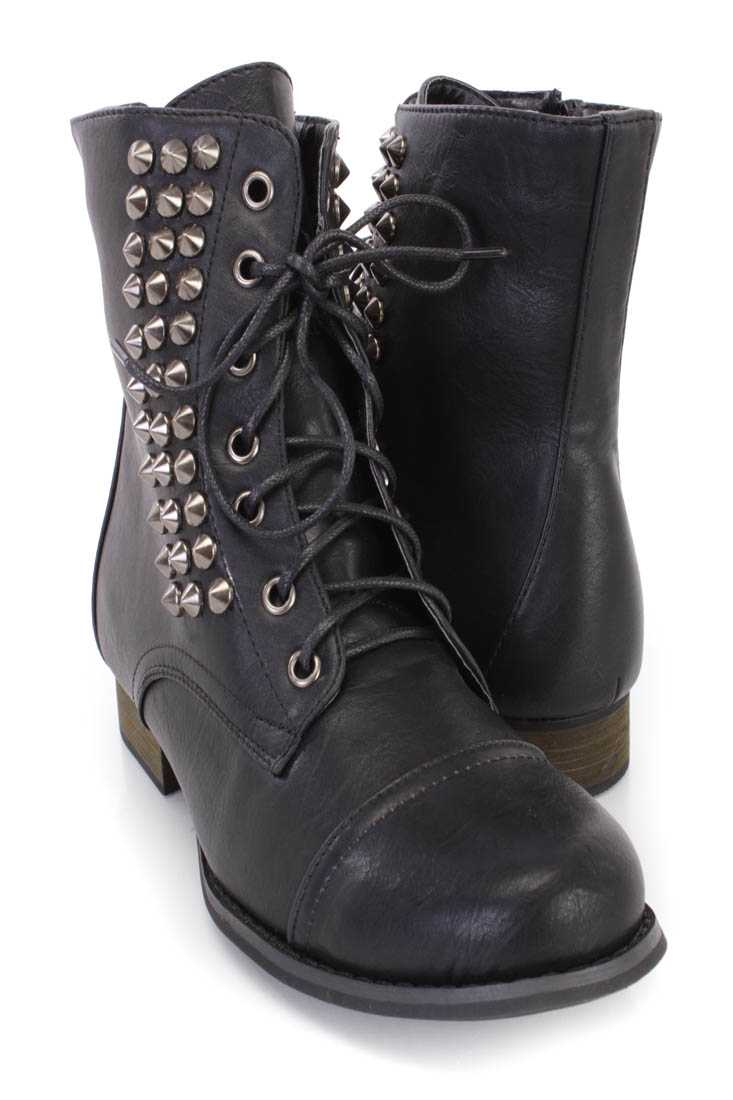 Black Lace Up Studded Ankle Booties Faux Leather
