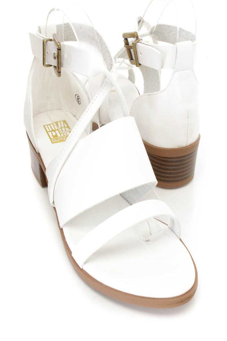 White Strappy Chunky Heel Sandals Faux Leather