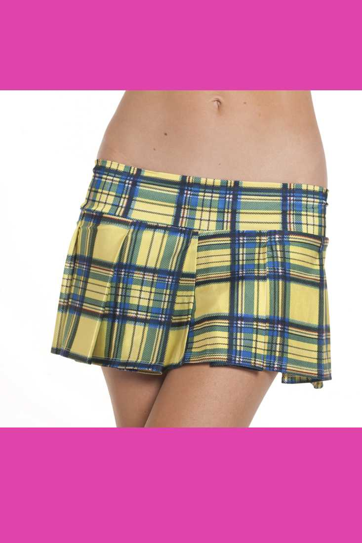 Yellow Pleated Plaid School Girl Skirt