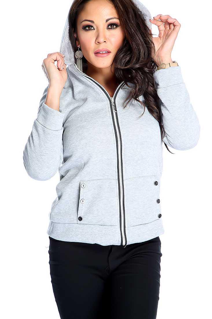 Stylish Grey Long Sleeve Zip Up Sweater