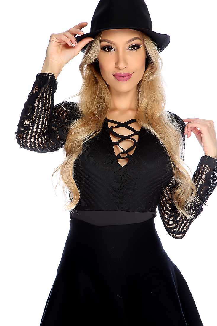 Sexy Black Long Sleeve Strappy Front Bodysuit