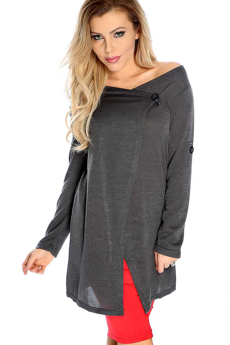 Stylish Charcoal Long Sleeve Button Detail Sweater