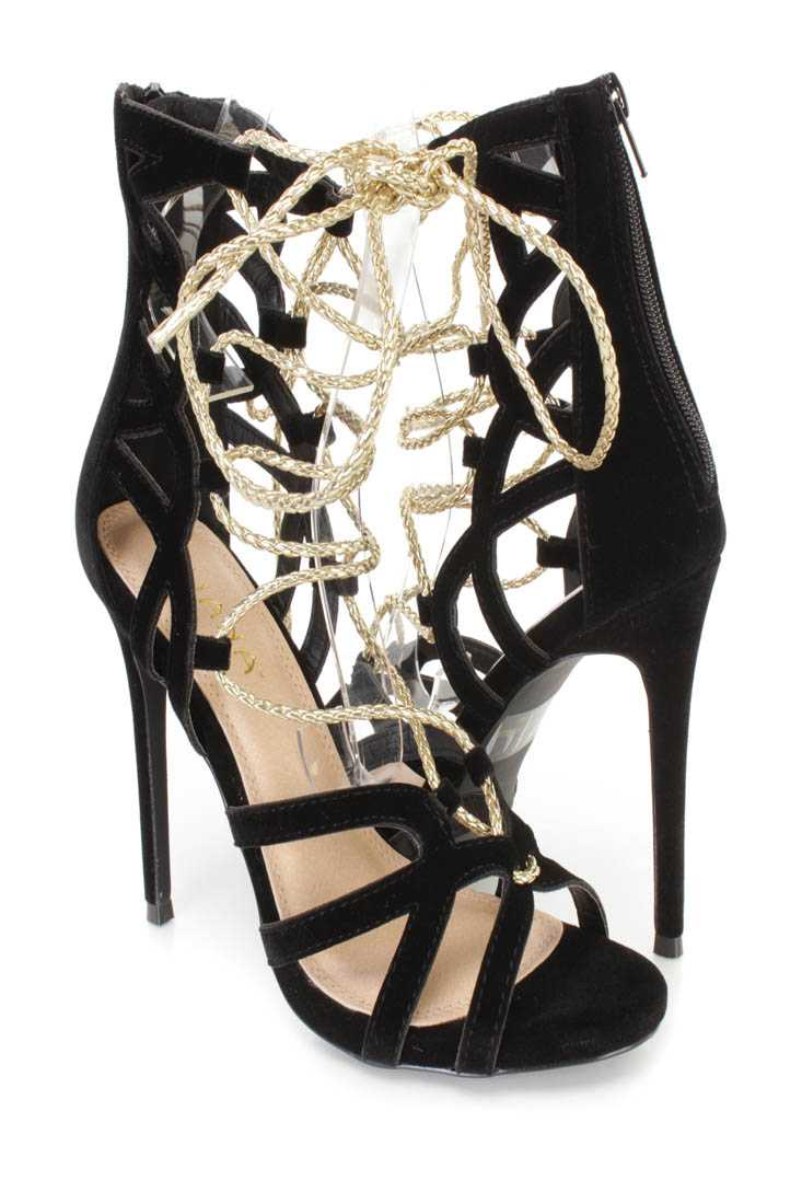 Black Metallic Lace Up Single Sole High Heels Faux Suede