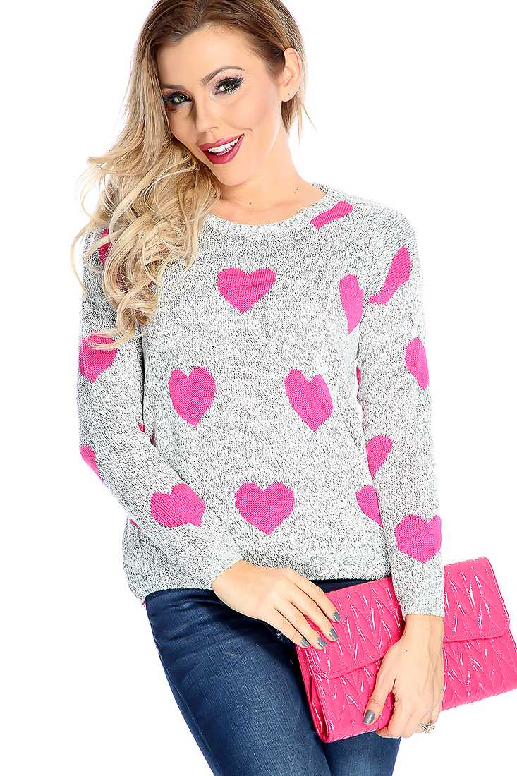 Stylish Fuchsia Grey Long Sleeve Heart Print Sweater Top