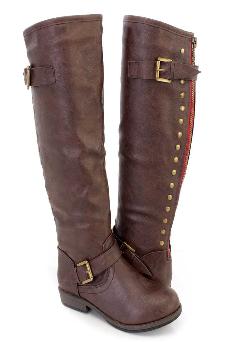 Brown Studded Knee High Riding Boots Faux Leather