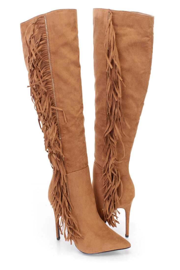Camel Fringe Single Sole High Heel Boots Faux Suede