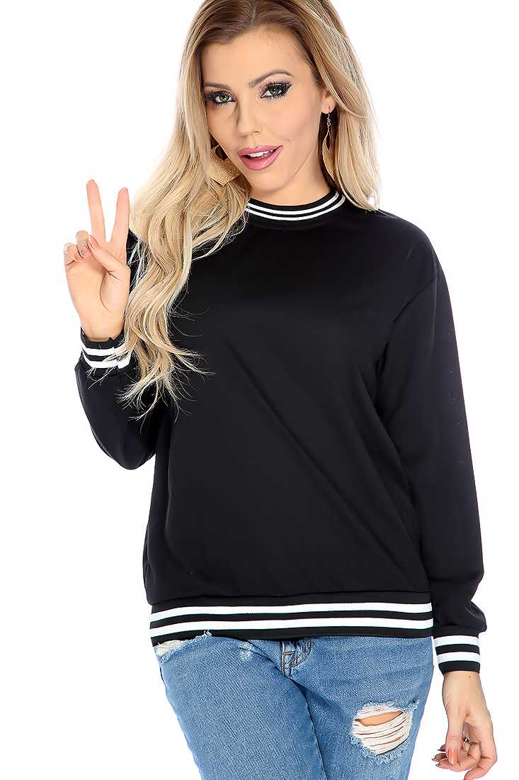 Black Long Sleeve Two Tone Causal Sweater Top