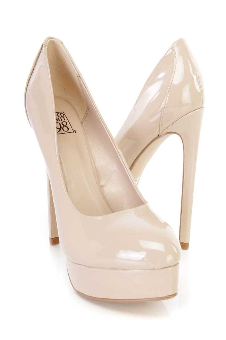 Dark Beige Platform Pump High Heels Patent Faux Leather