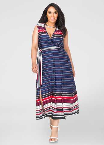 Striped Side Slit Maxi Dress