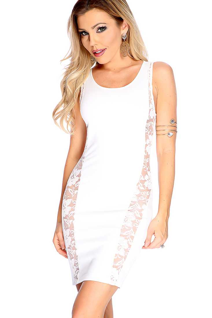 Sexy White Floral Lace Trim Side Cutout Sleeveless Party Dress