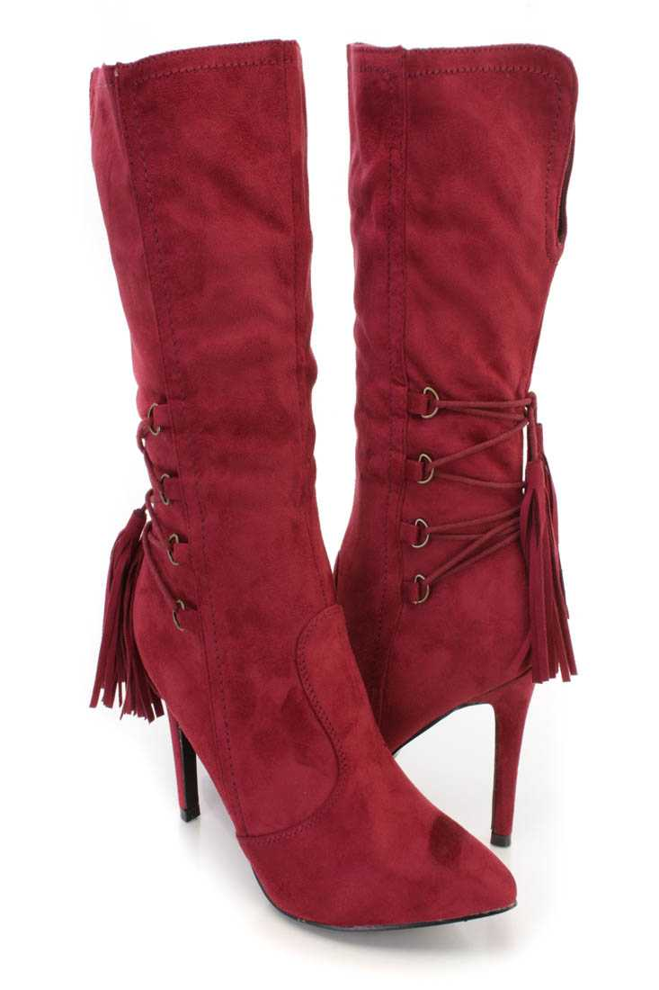 Wine Pointed Toe Single Sole Heel Booties Faux Suede