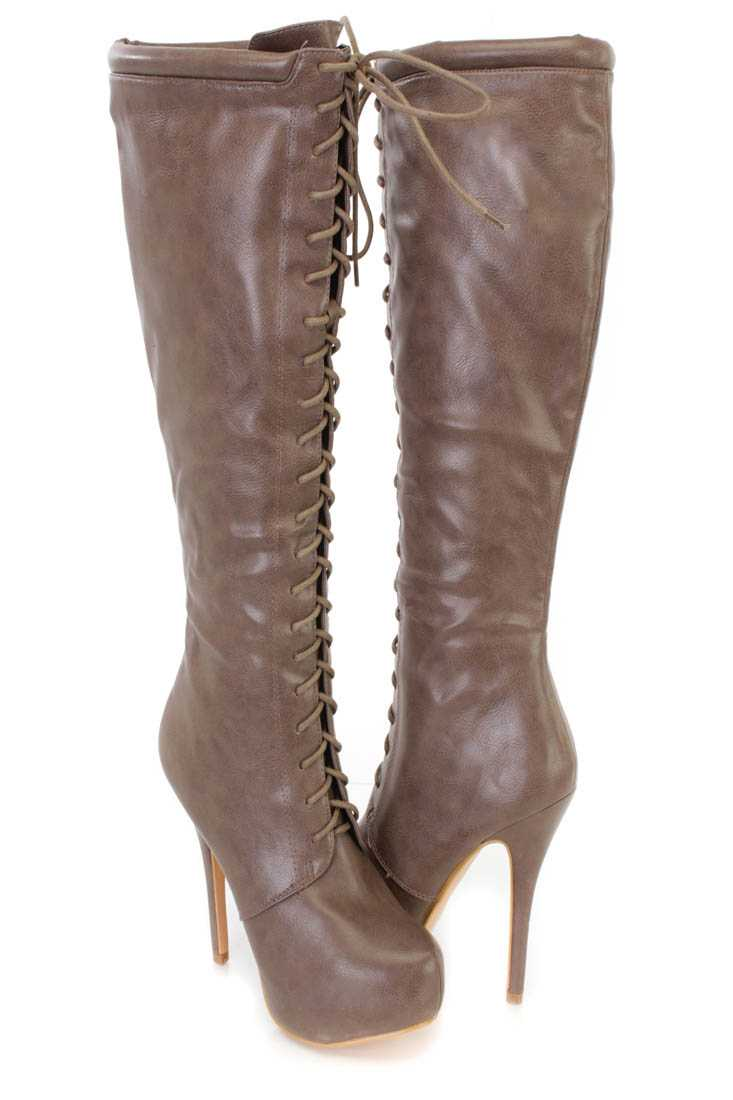 Grey Knee High Lace Up High Heel Boots Faux Leather