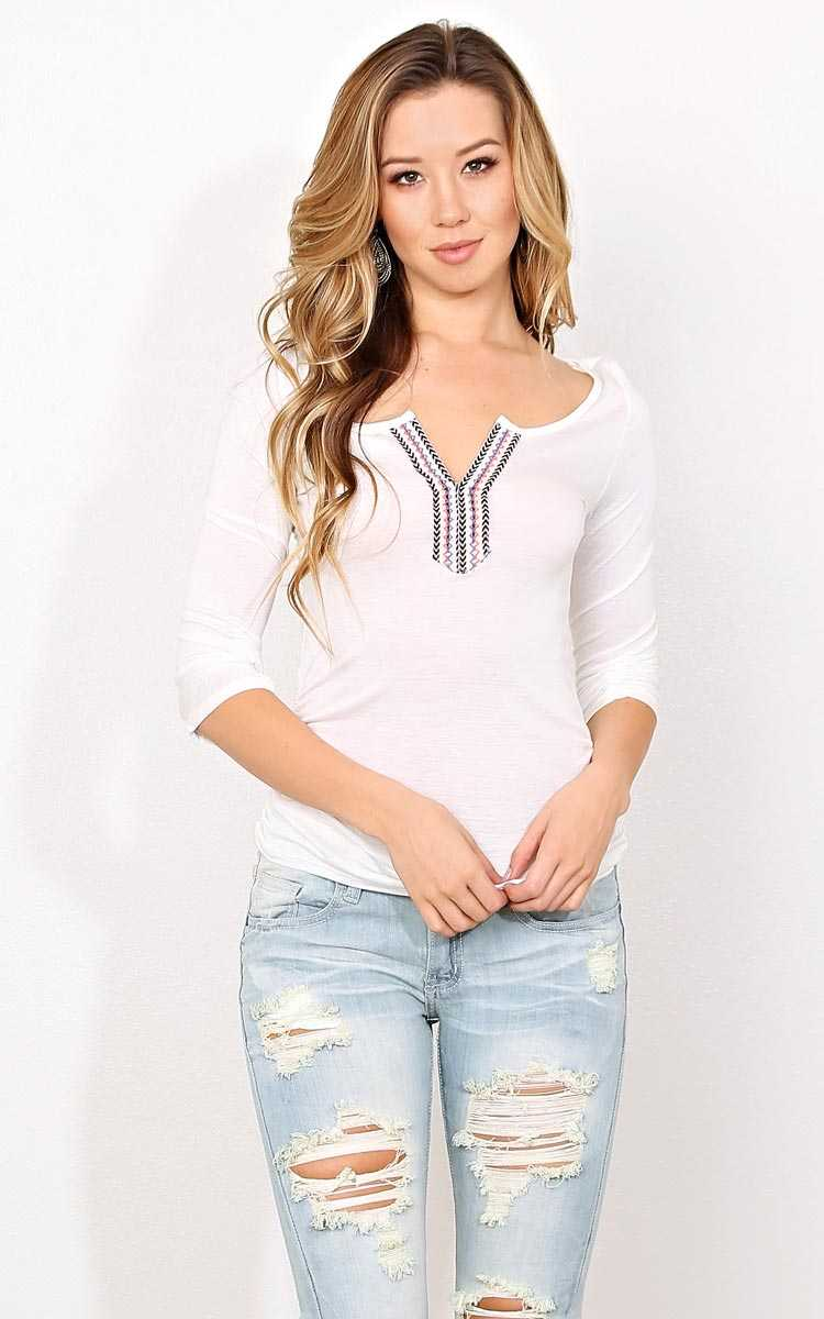 Native Dreamer Henley Knit Top - LGE - Ivry/Natrl in Size Large by Styles For Less