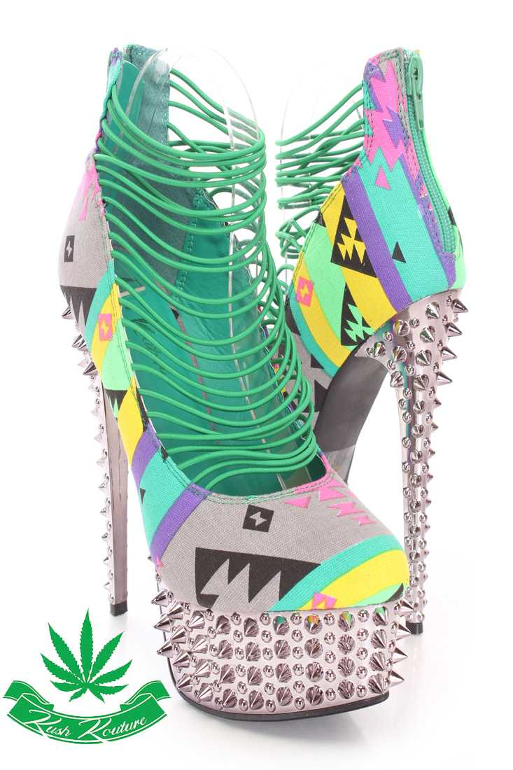 Green Tribal Printed Strappy High Heels Canvas