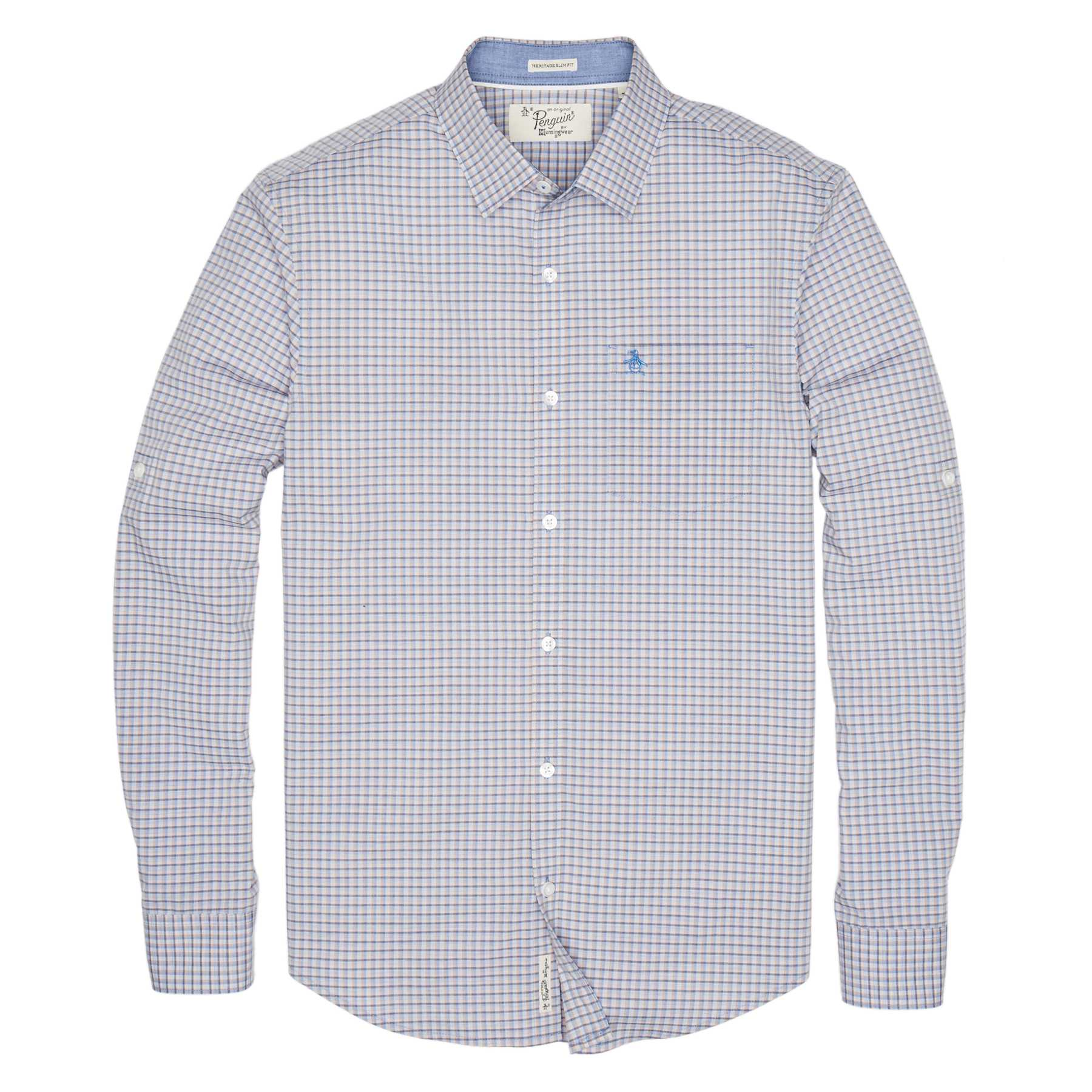 Original Penguin MINI PLAID ROLLSLEEVE SHIRT