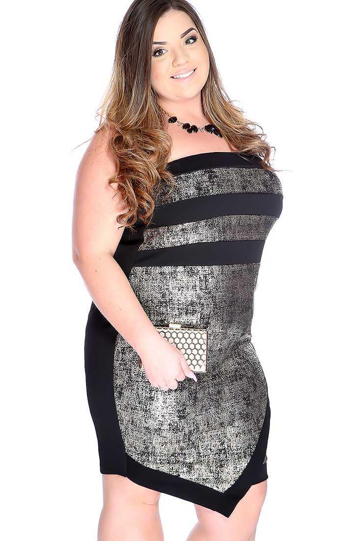 Sexy Gold Black Metallic Print Strapless Plus Size Party Dress