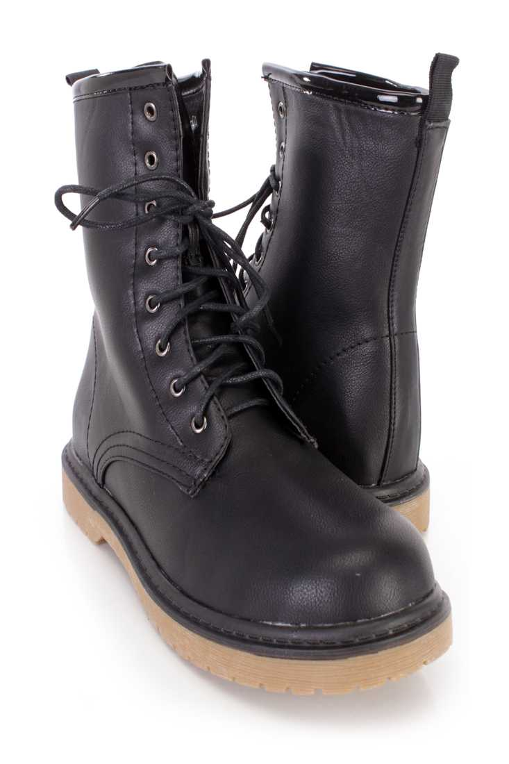 Black Lace Up Combat Ankle Boots Faux Leather