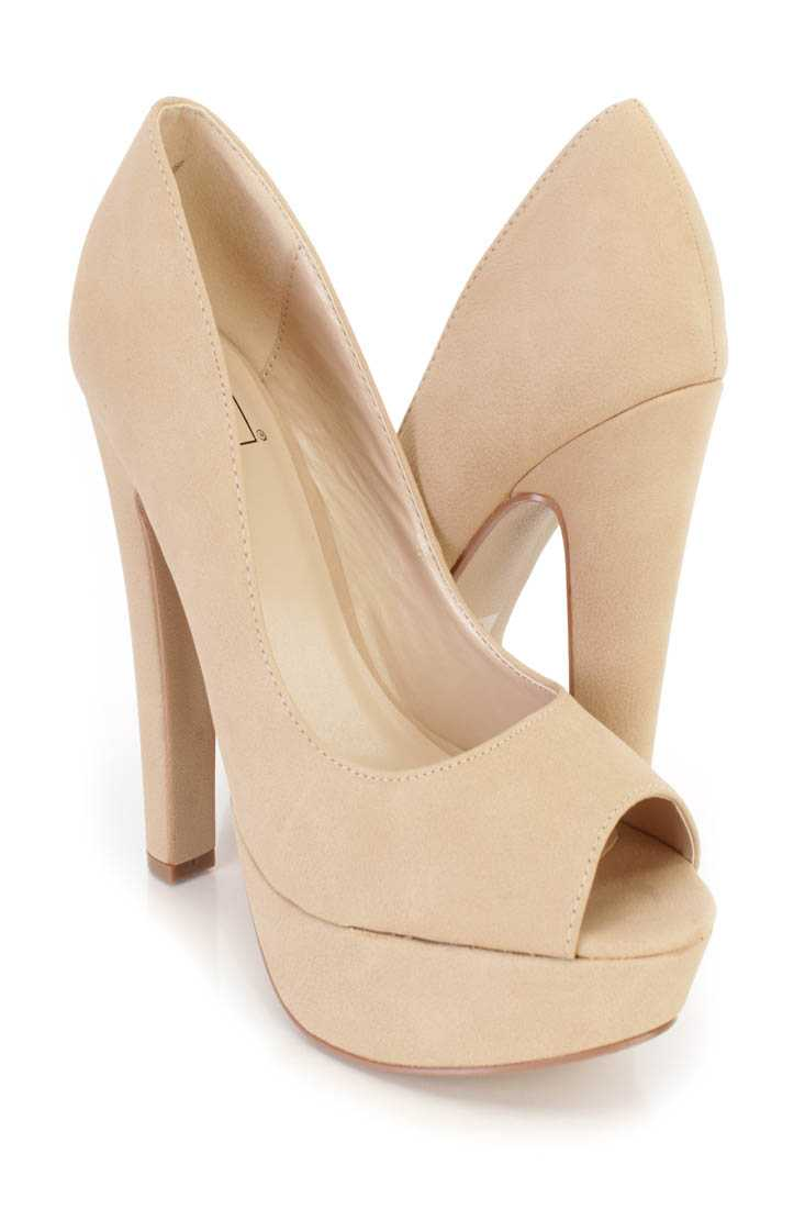 Natural Peep Toe Platform Pump Chunky High Heels Nubuck