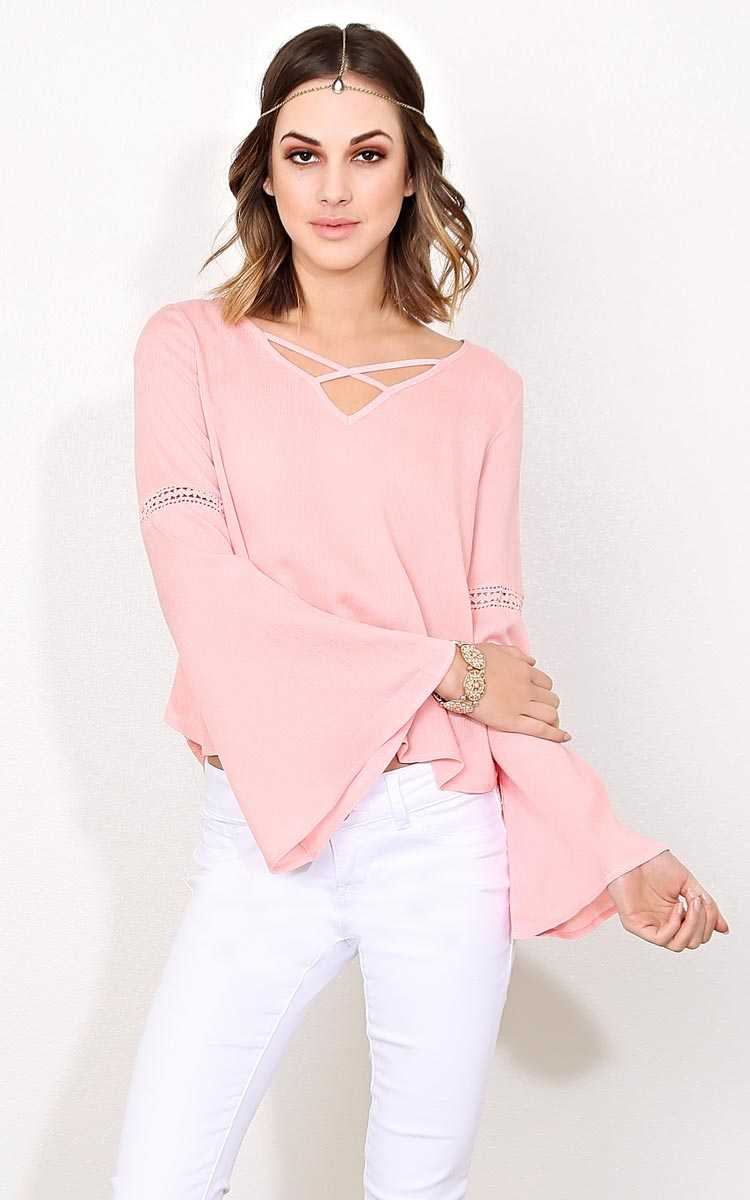 Chevron Chasing Woven Gauze Top - - Blush in Size by Styles For Less