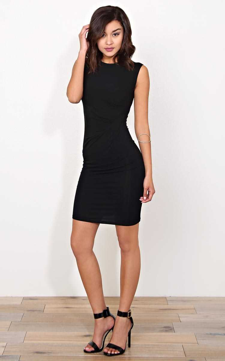 HEARTS AND HIPS Twisted Side Dress - - Black in Size by Styles For Less