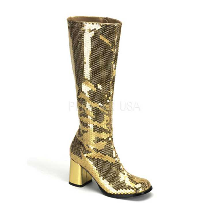 Gold Sequins Chunky Heel Knee High Boots