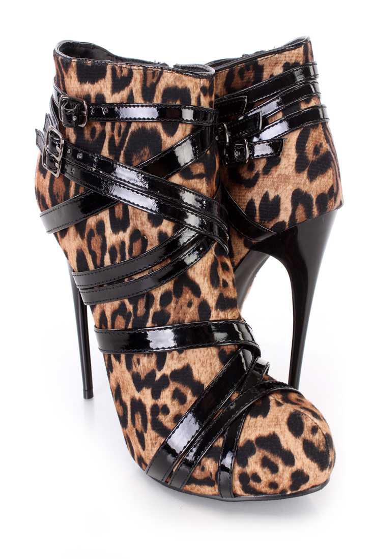 Leopard Single Sole Stiletto Heel Booties Faux Suede