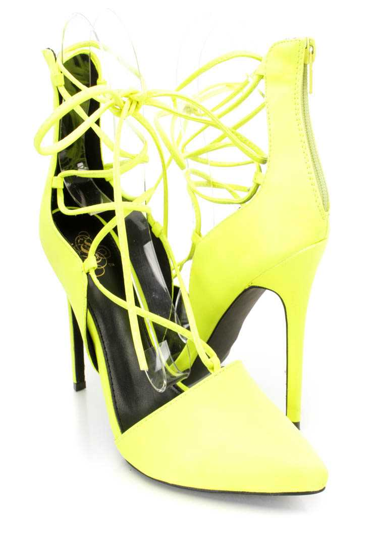 Neon Yellow Wrap Around Tie Single Sole High Heels Faux Leather
