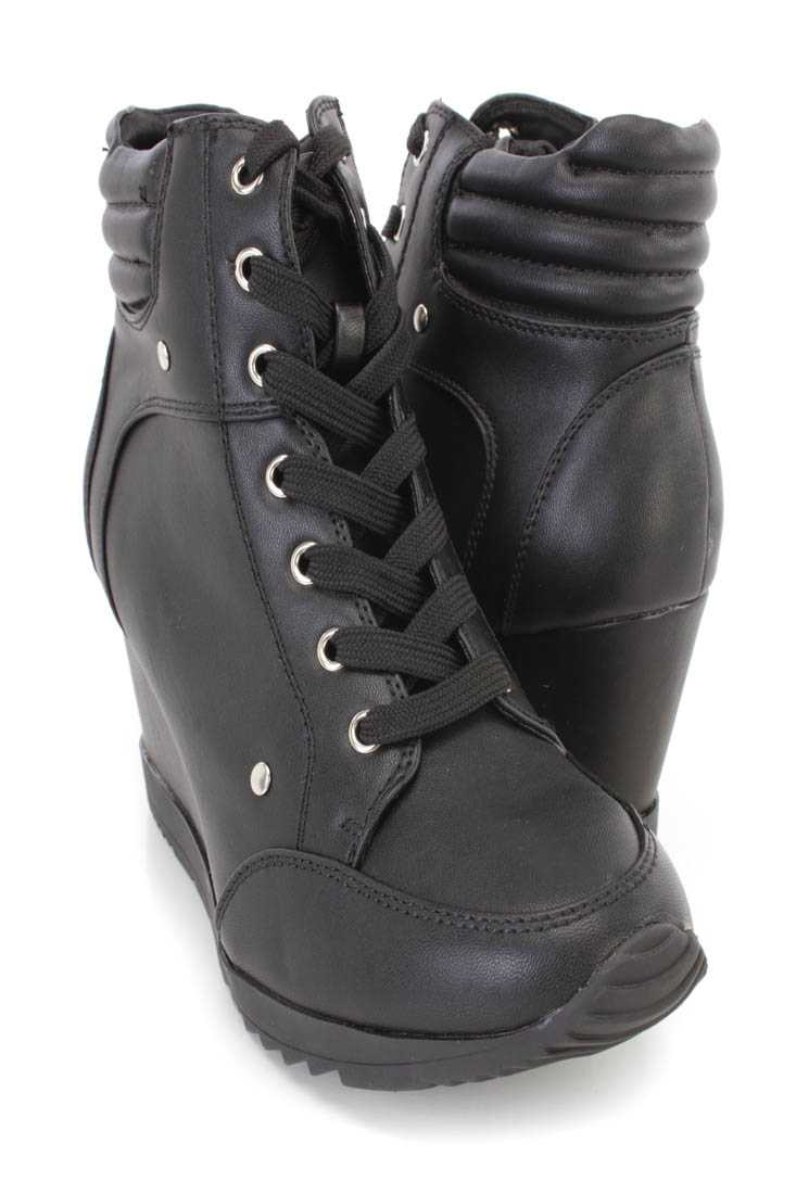Black Lace Up Sneaker Wedges Faux Leather
