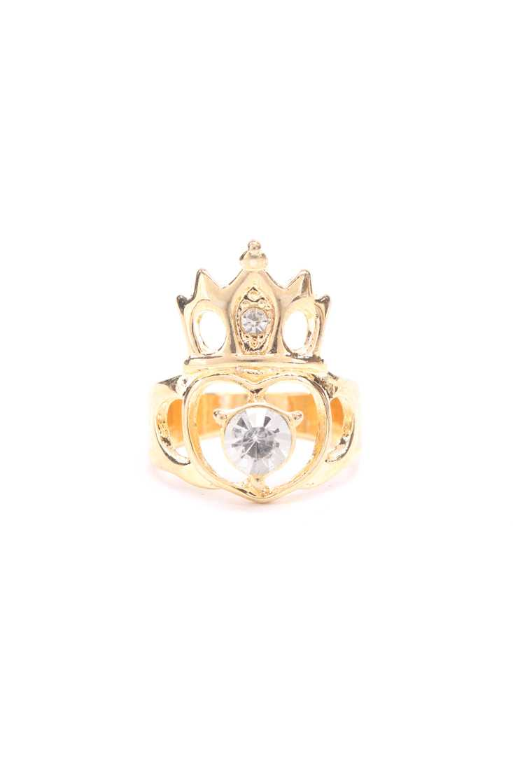 Gold Crown Design High Polish Heart Cutout Centered Gemstone Accent Ring
