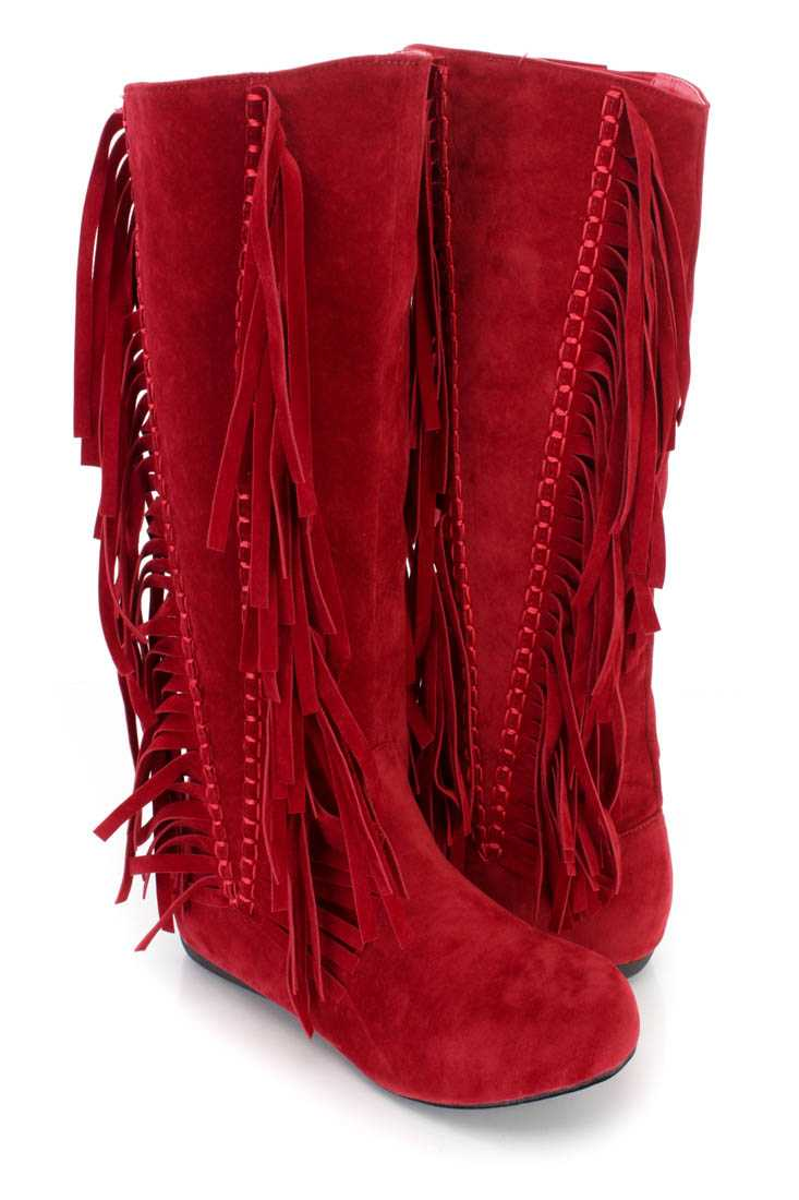 Red Fringe Stitched Mid Calf Boots Faux Suede