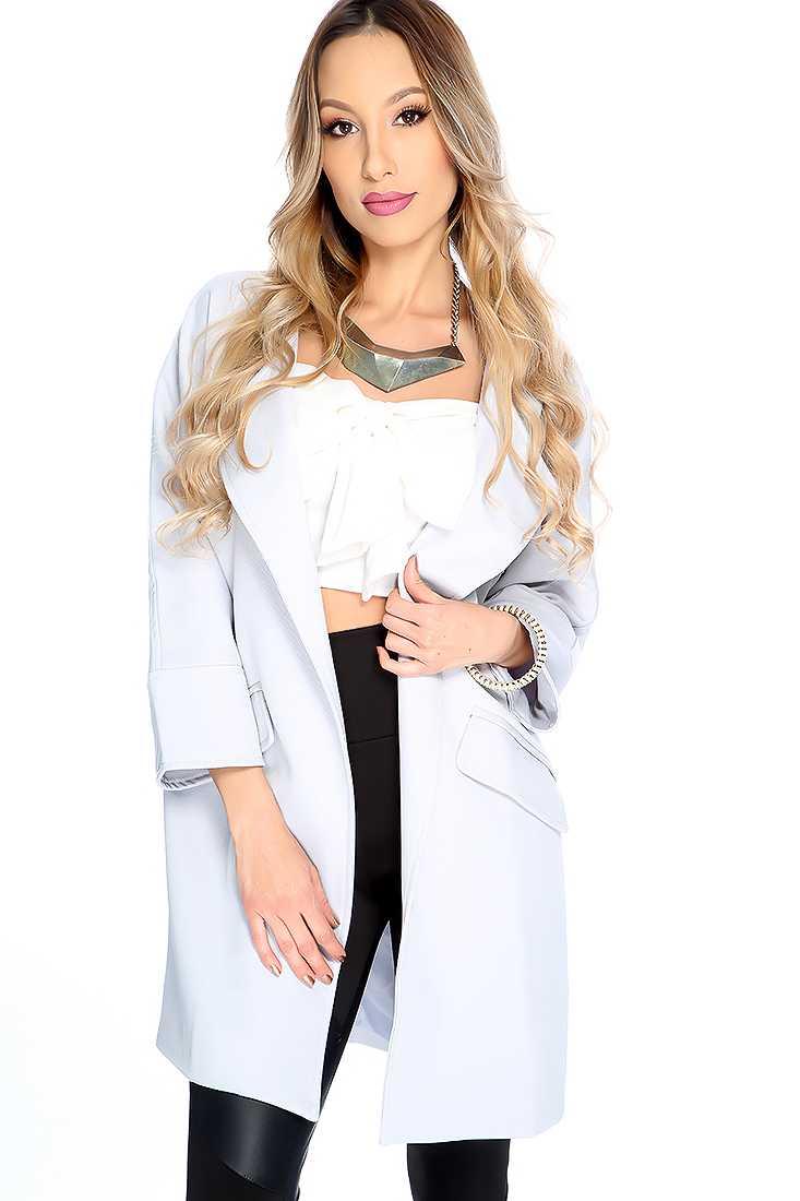 Stylish Grey Long Sleeve Open Front Jacket