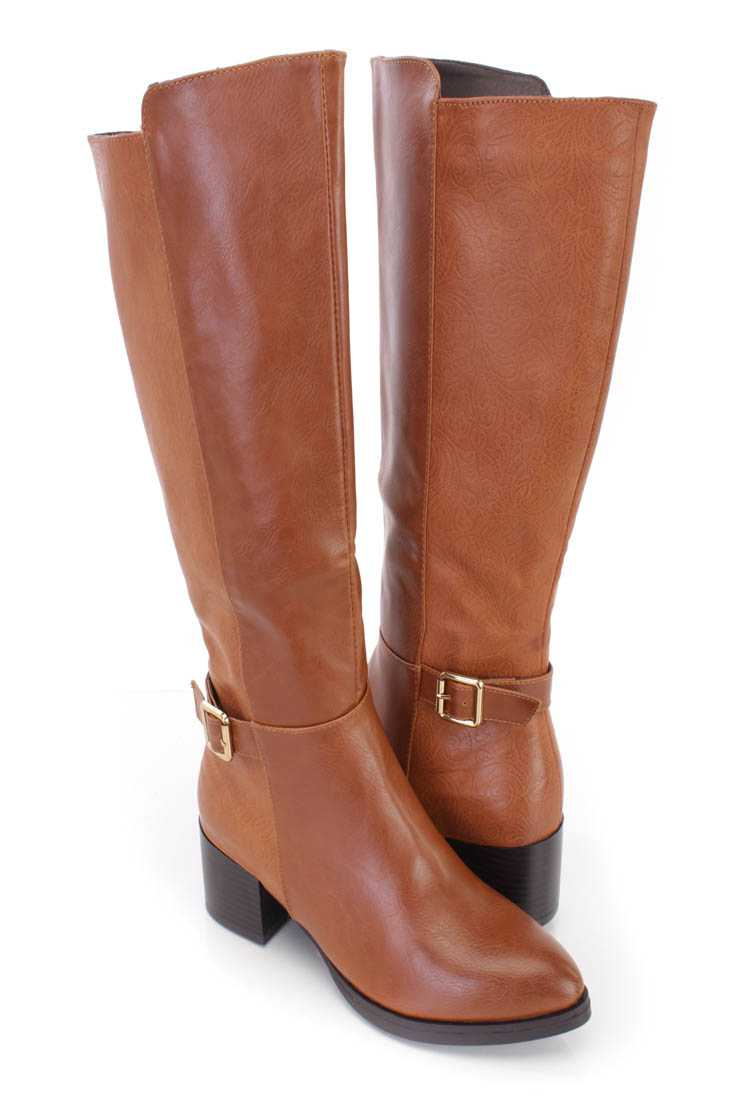 Camel Paisley Embossed Riding Boots Faux Leather