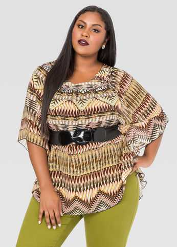 Sheer Belted Poncho Top