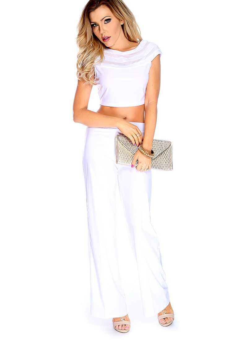 White Sheer Striped High Waist 2 Piece Outfit