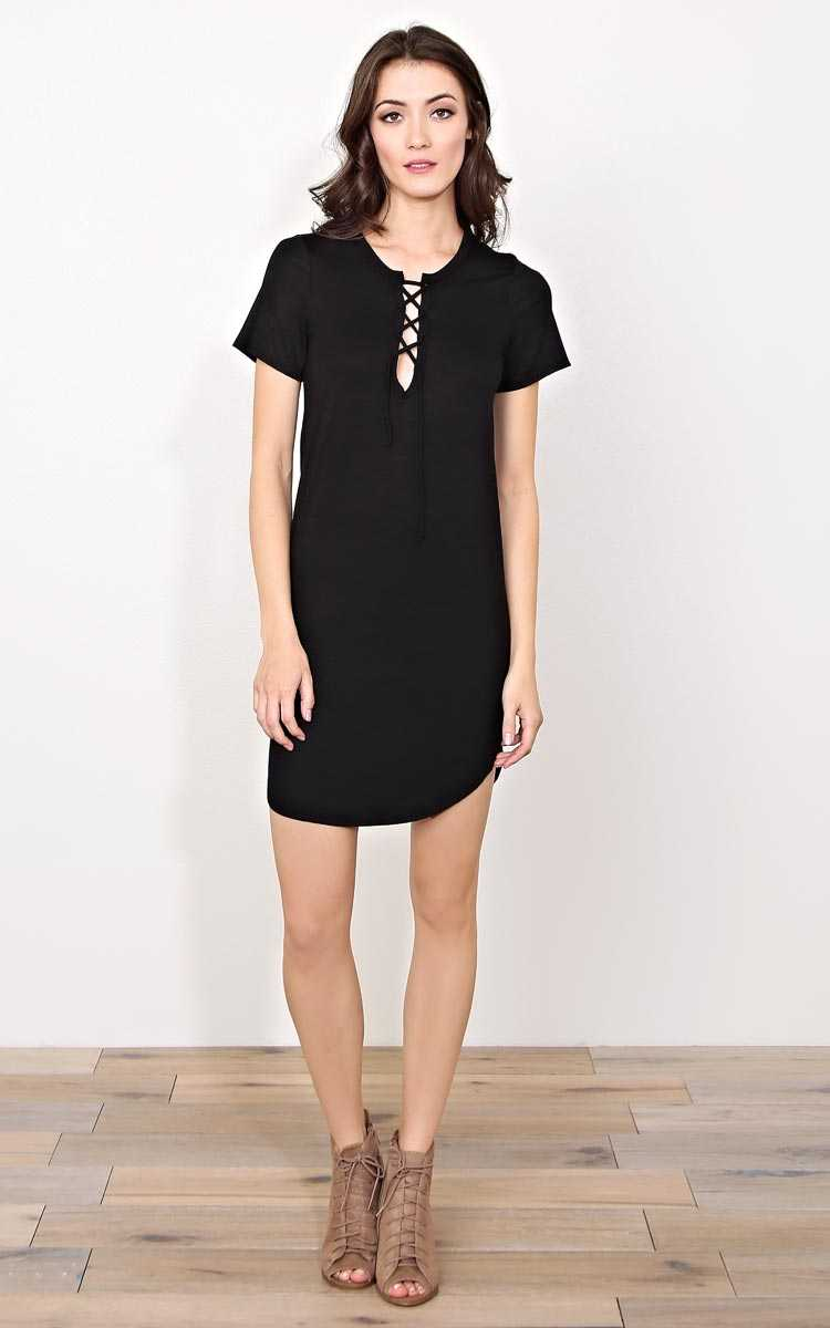 Cruz Lace Up T Shirt Dress - - Black in Size by Styles For Less